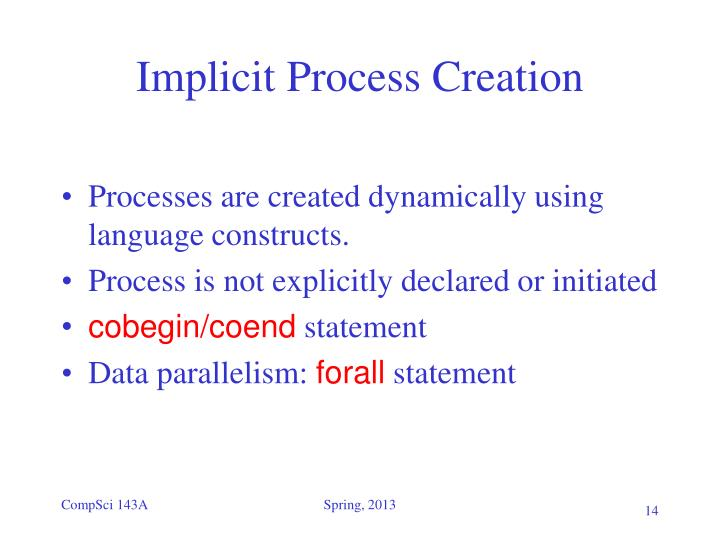 Implicit Process Creation