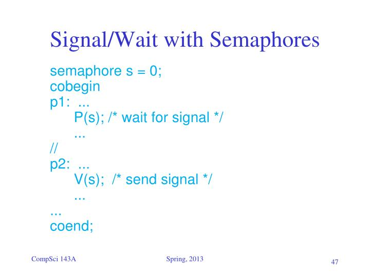 Signal/Wait with Semaphores