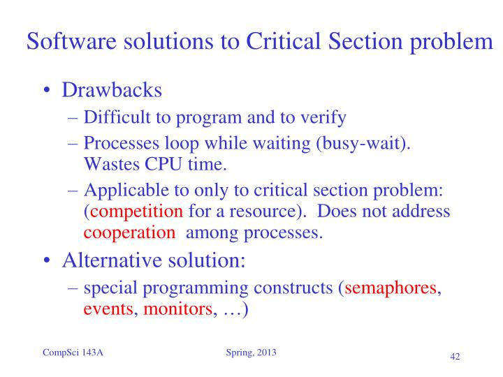 Software solutions to Critical Section problem