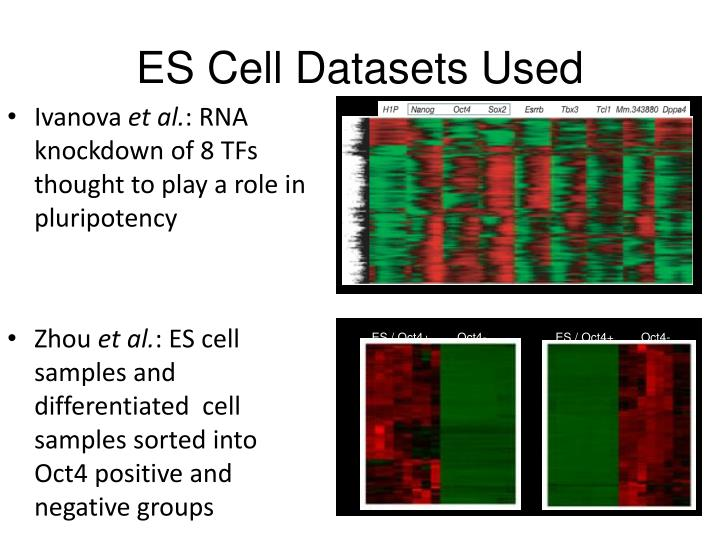 ES Cell Datasets Used