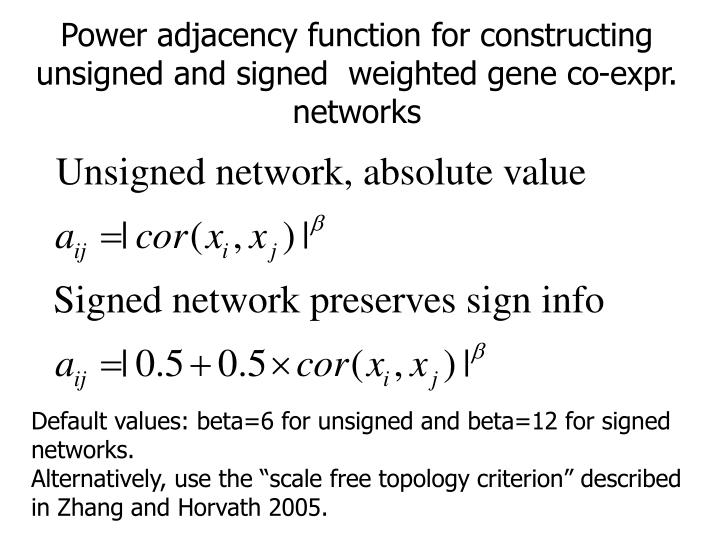 Power adjacency function for constructing unsigned and signed  weighted gene co-expr. networks