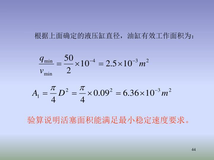 根据上面确定的液压缸直径,油缸有效工作面积为: