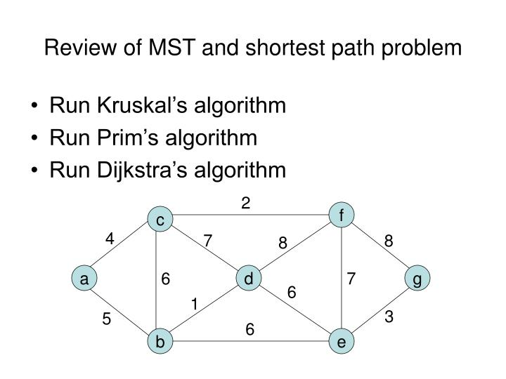 Review of mst and shortest path problem