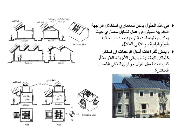 في هذه الحلول يمكن للمعماري استغلال الواجهة الجنوبية للمبنى