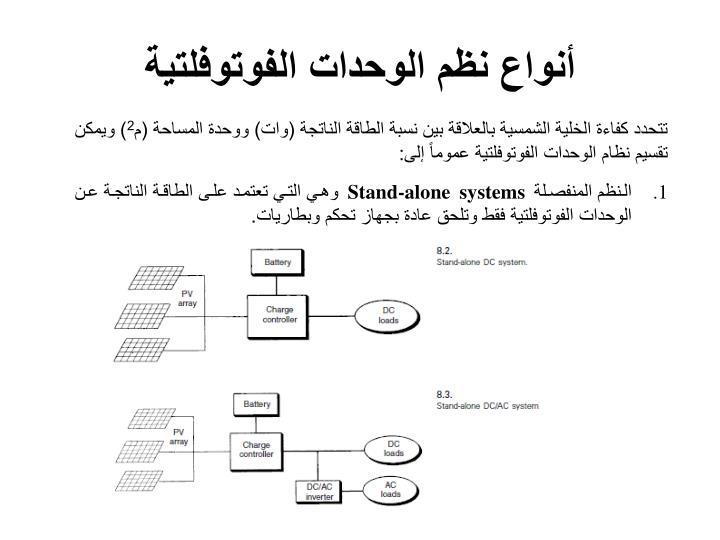 أنواع نظم الوحدات الفوتوفلتية