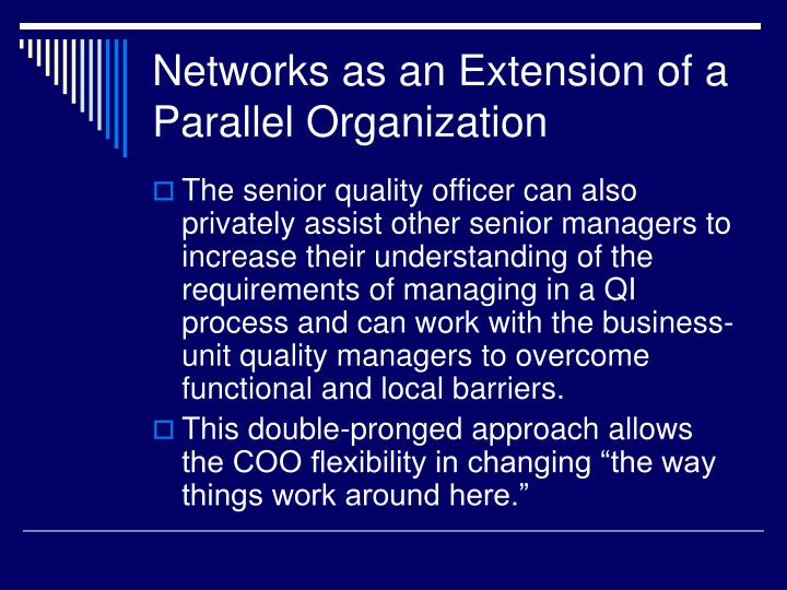 Networks as an Extension of a Parallel Organization