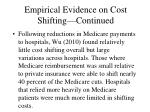 empirical evidence on cost shifting continued