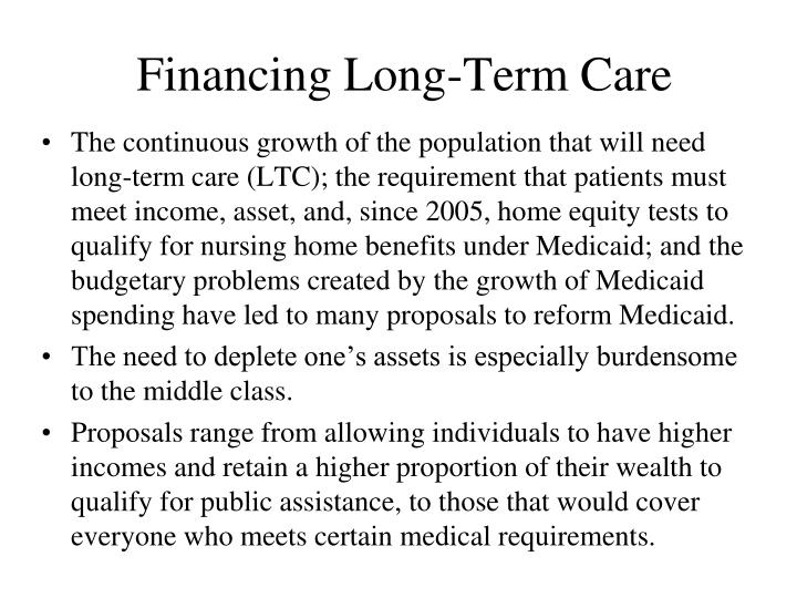 Financing Long-Term Care