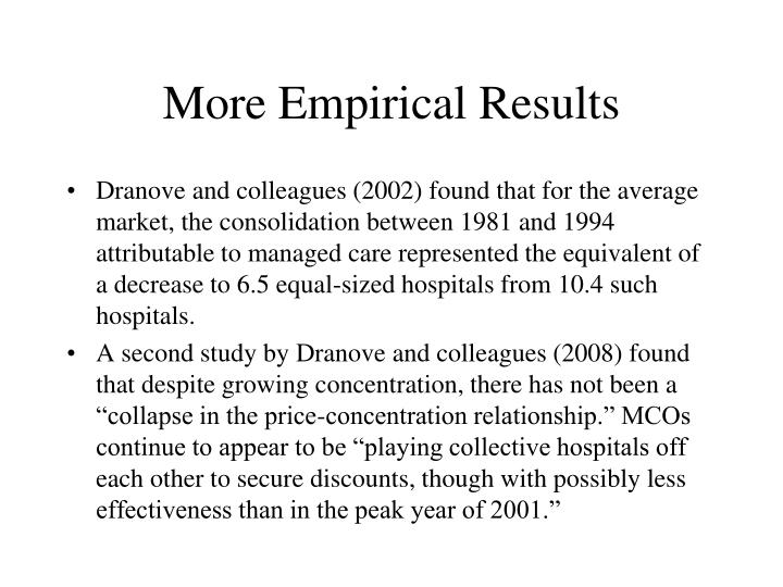 More Empirical Results