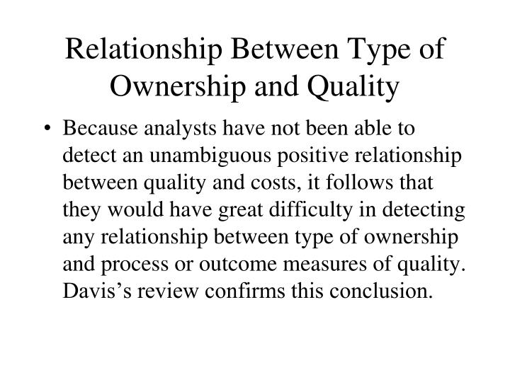 Relationship Between Type of Ownership and Quality