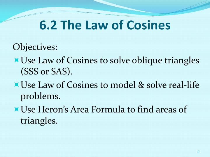 6 2 the law of cosines