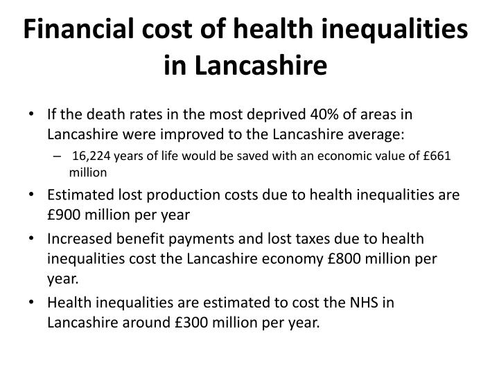 Financial cost of health inequalities