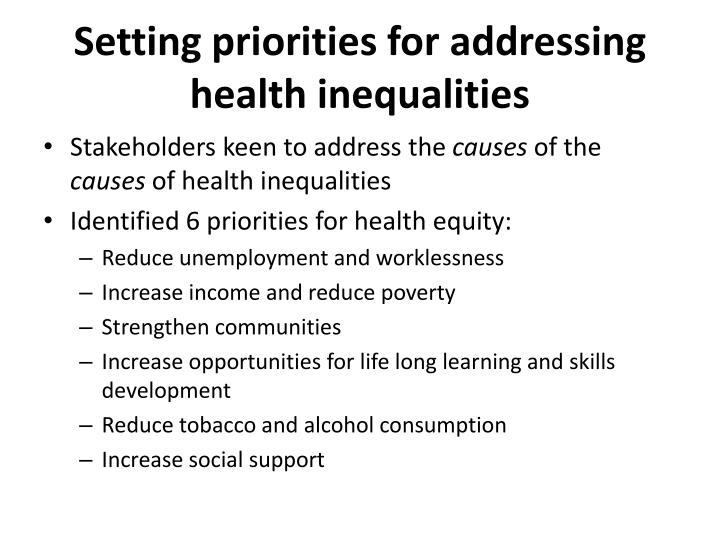 Setting priorities for addressing health inequalities