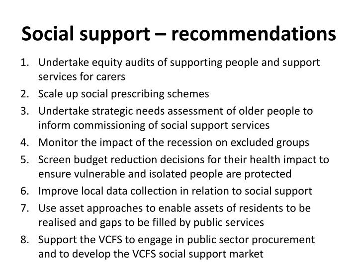 Social support – recommendations