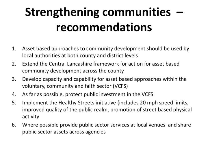 Strengthening communities  – recommendations