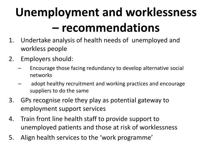 Unemployment and worklessness – recommendations