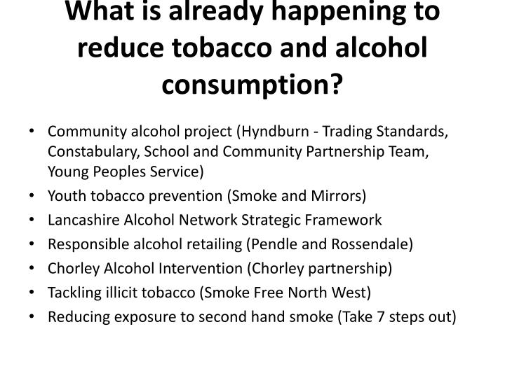 What is already happening to reduce tobacco and alcohol consumption?
