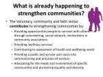 what is already happening to strengthen communities