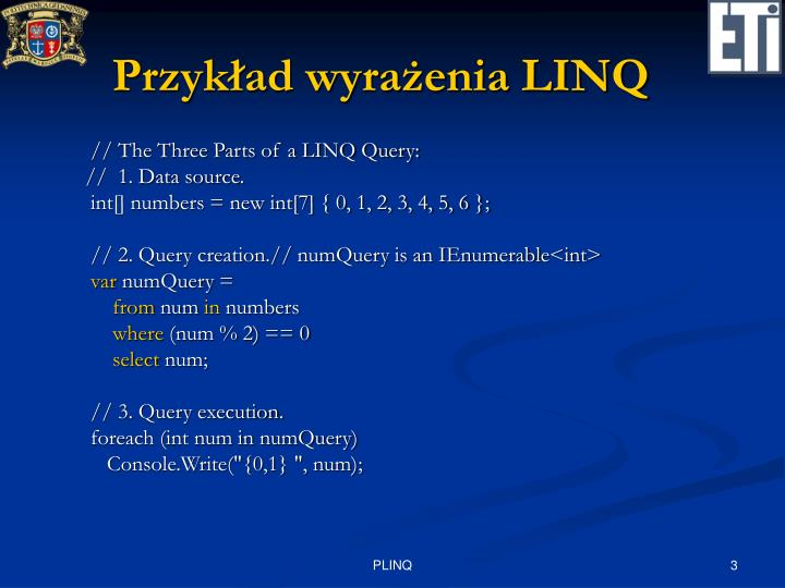 Przykład wyrażenia LINQ