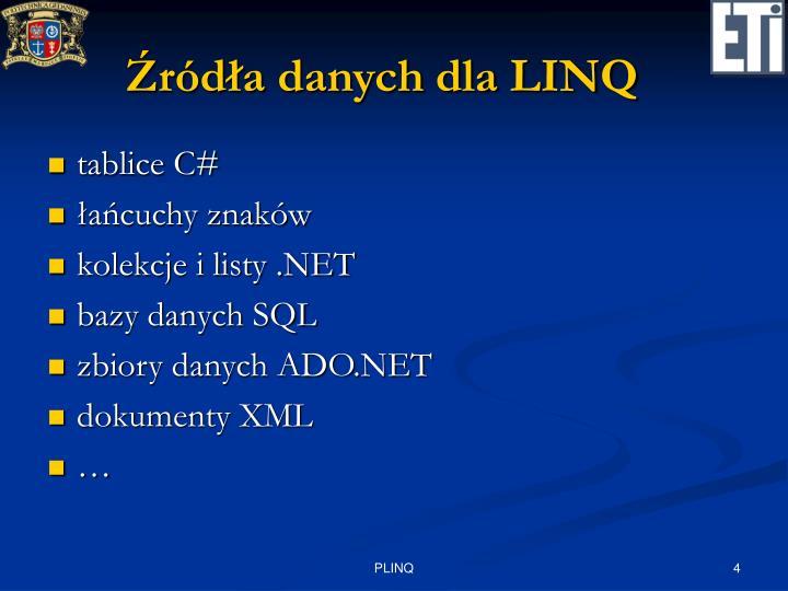 Źródła danych dla LINQ
