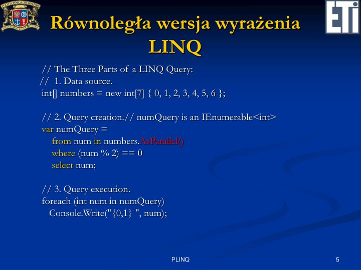 Równoległa wersja wyrażenia LINQ