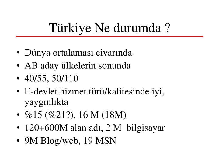 Türkiye Ne durumda ?