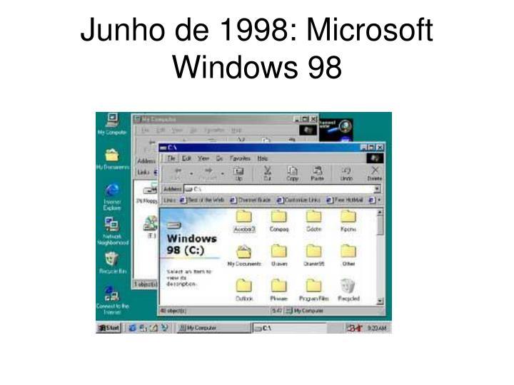 Junho de 1998: Microsoft Windows 98