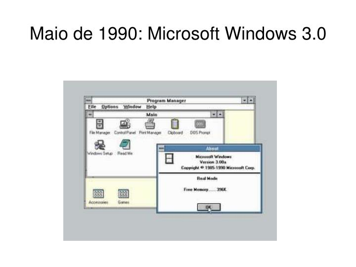 Maio de 1990: Microsoft Windows 3.0