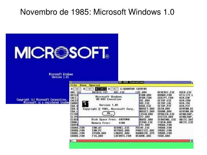 Novembro de 1985: Microsoft Windows 1.0