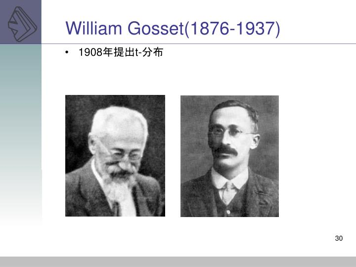 William Gosset(1876-1937)