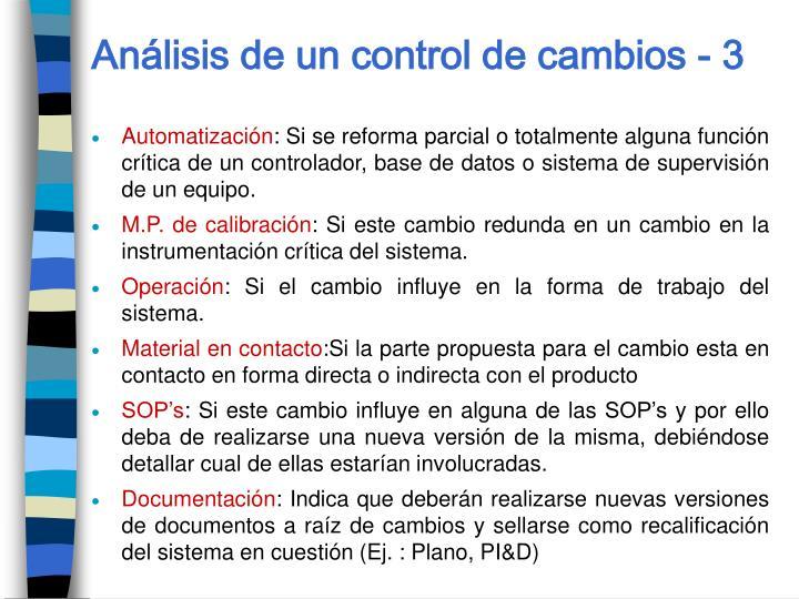Análisis de un control de cambios - 3