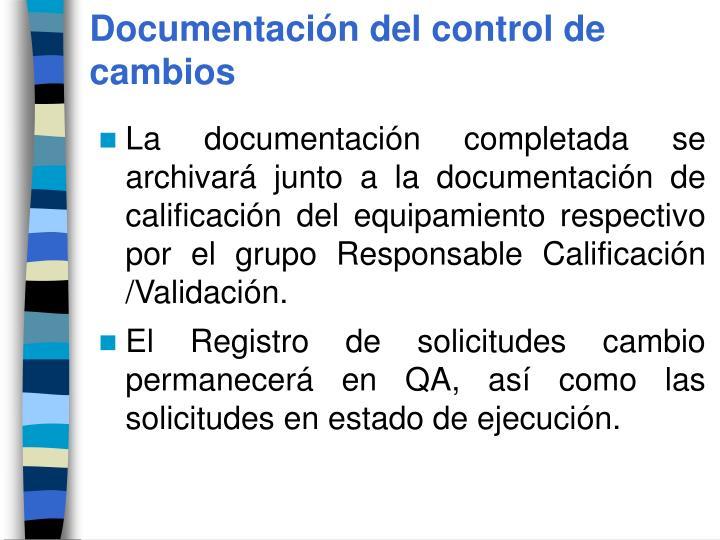 Documentación del control de cambios