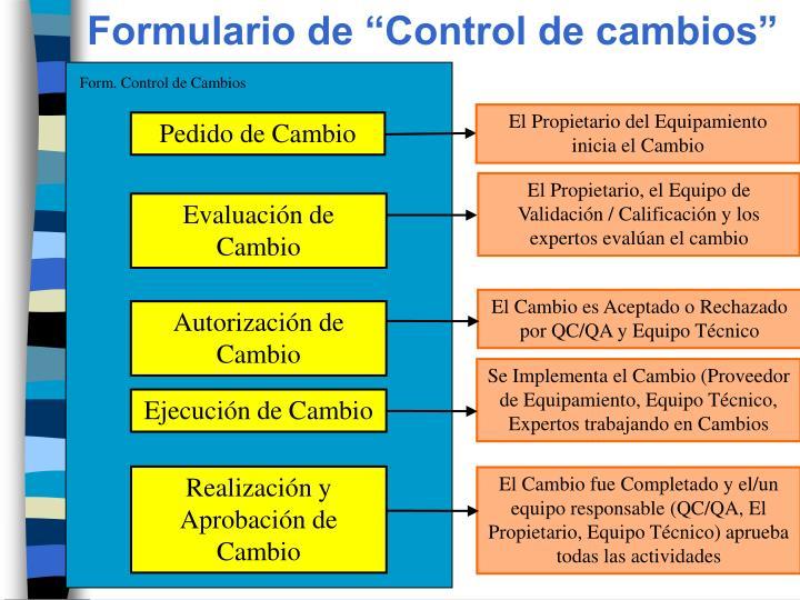 """Formulario de """"Control de cambios"""""""