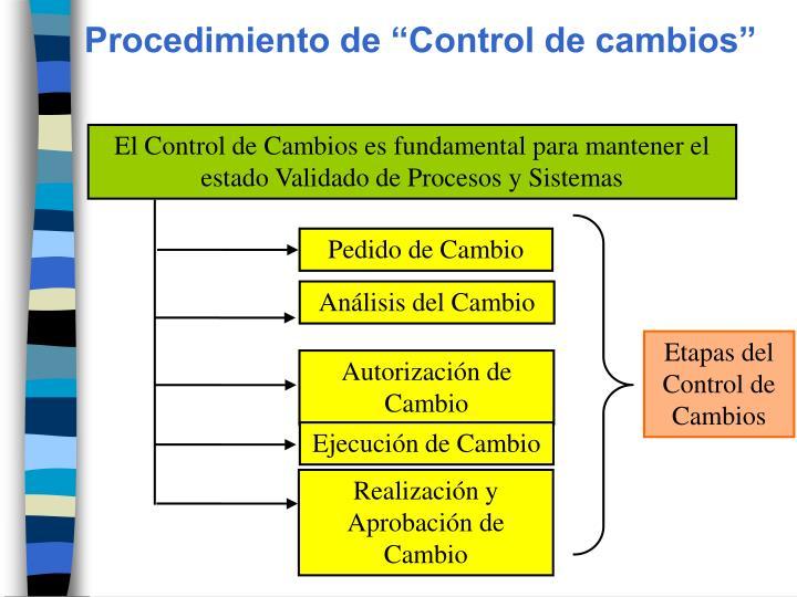 """Procedimiento de """"Control de cambios"""""""