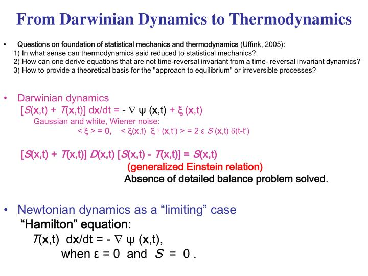 From Darwinian Dynamics to Thermodynamics