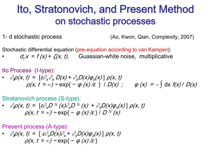 Ito, Stratonovich, and Present Method