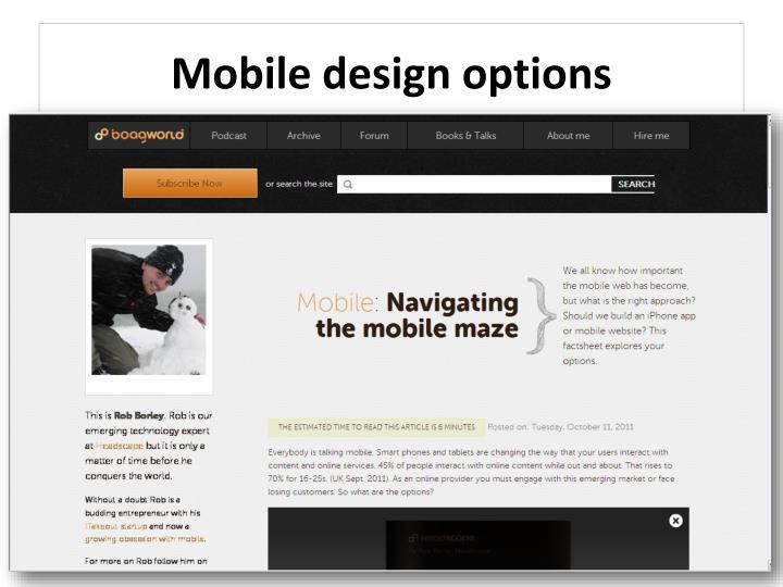 Mobile design options