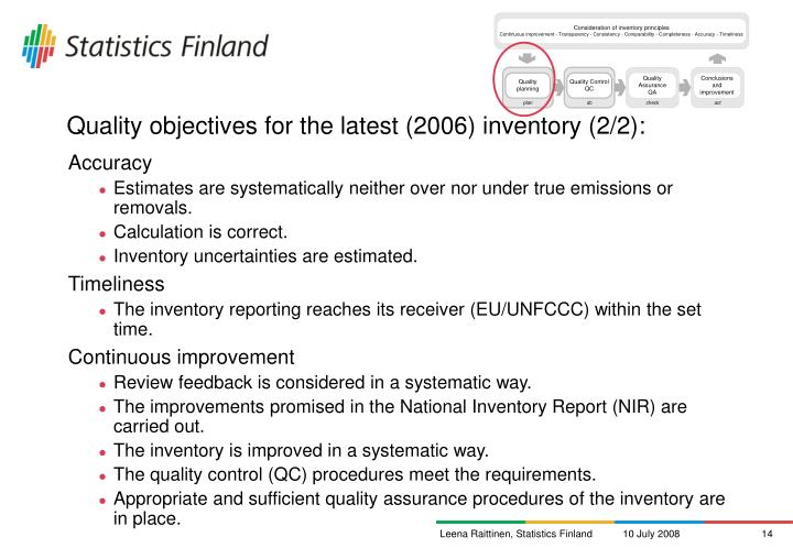 Quality objectives for the latest (2006) inventory (2/2):
