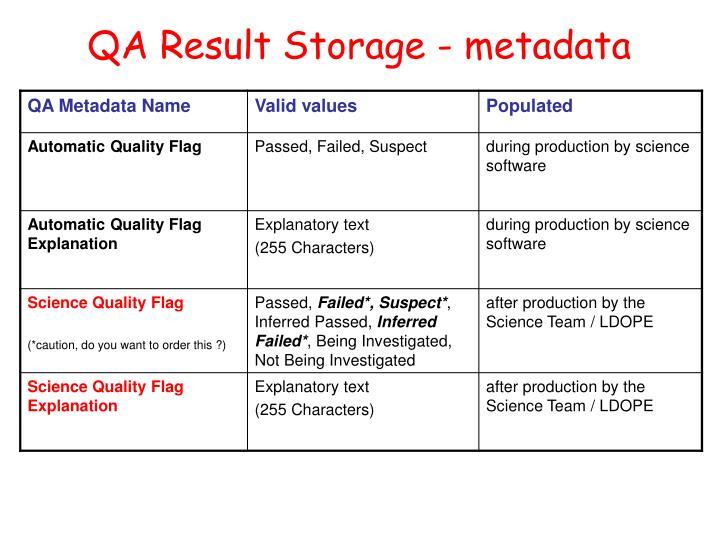 QA Result Storage - metadata