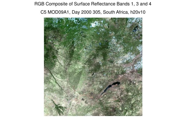 RGB Composite of Surface Reflectance Bands 1, 3 and 4