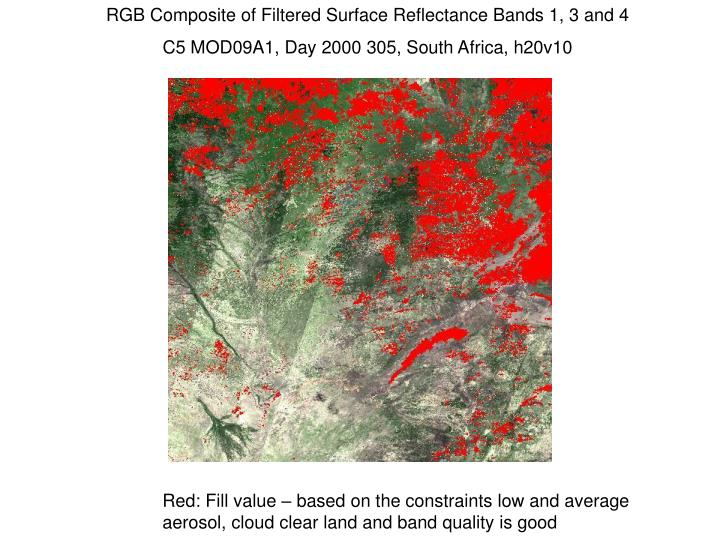RGB Composite of Filtered Surface Reflectance Bands 1, 3 and 4