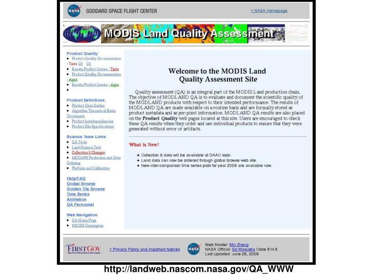 http://landweb.nascom.nasa.gov/QA_WWW