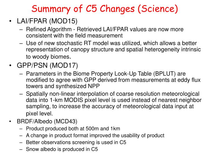 Summary of C5 Changes (Science)