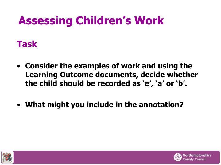Assessing Children's Work