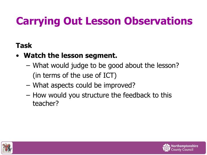 Carrying Out Lesson Observations
