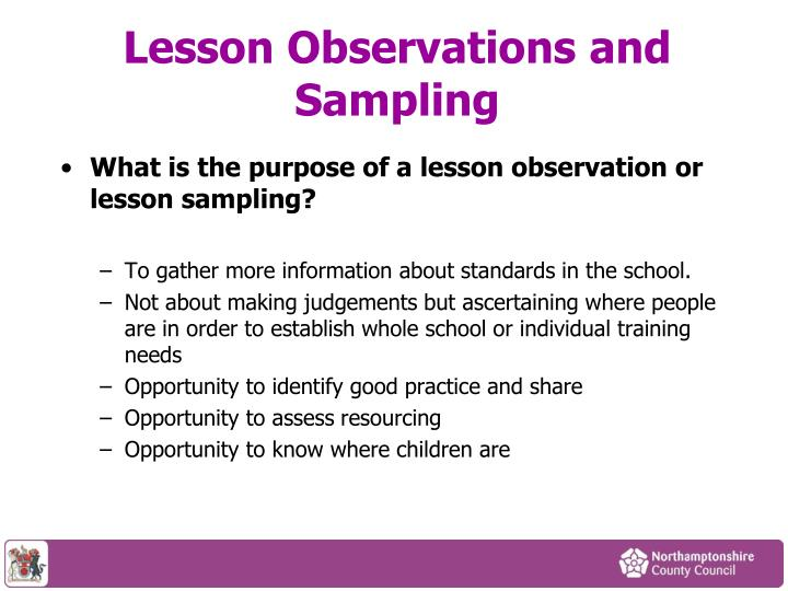 Lesson Observations and Sampling