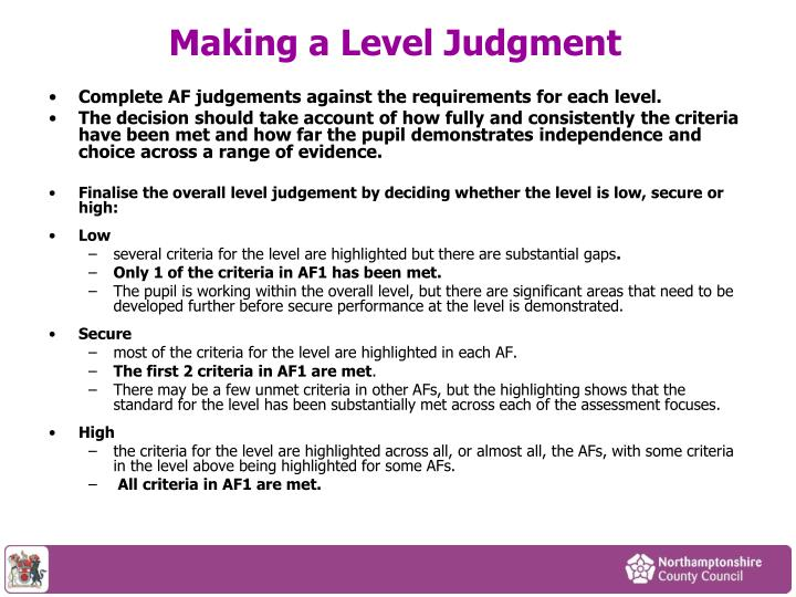 Making a Level Judgment