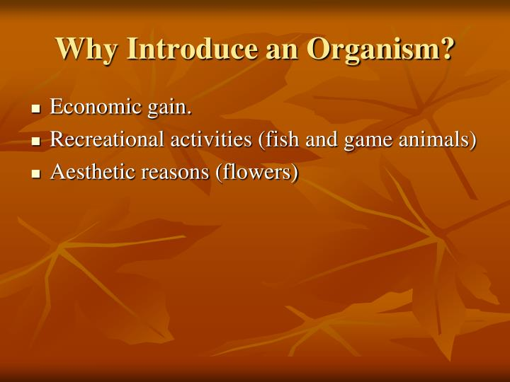 Why Introduce an Organism?