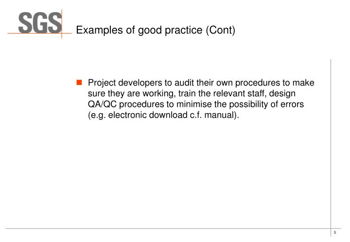 Examples of good practice (Cont)
