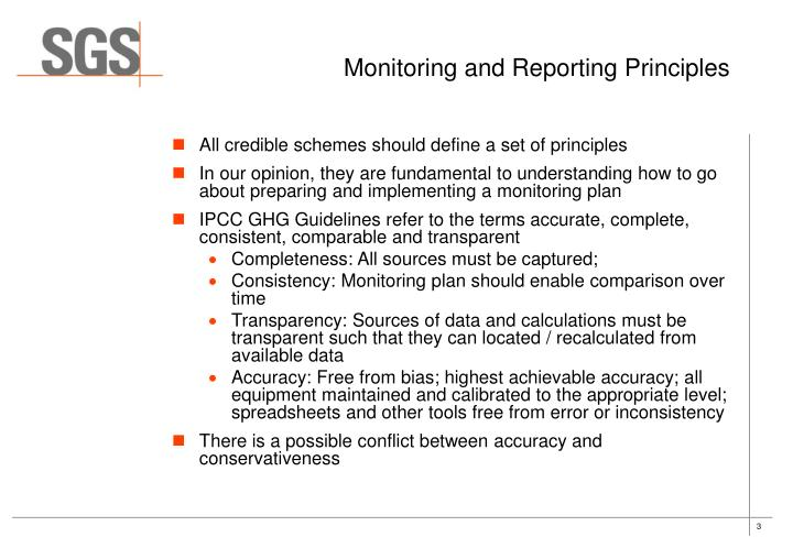Monitoring and reporting principles